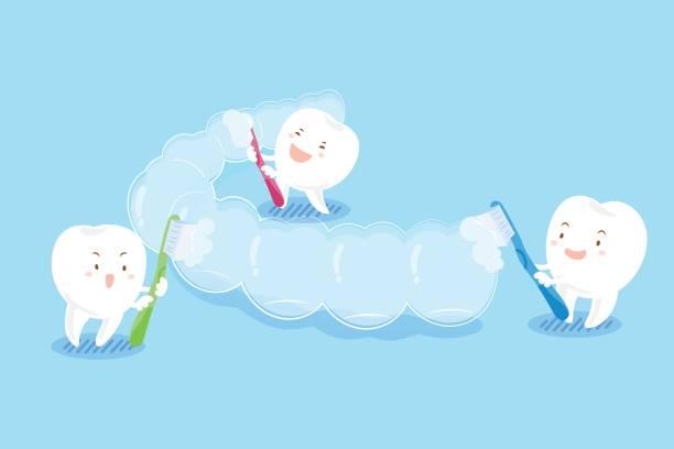 歯磨きは目に見えないかっこ - マウスピース矯正点のイラスト素材/クリップアート素材/マンガ素材/アイコン素材