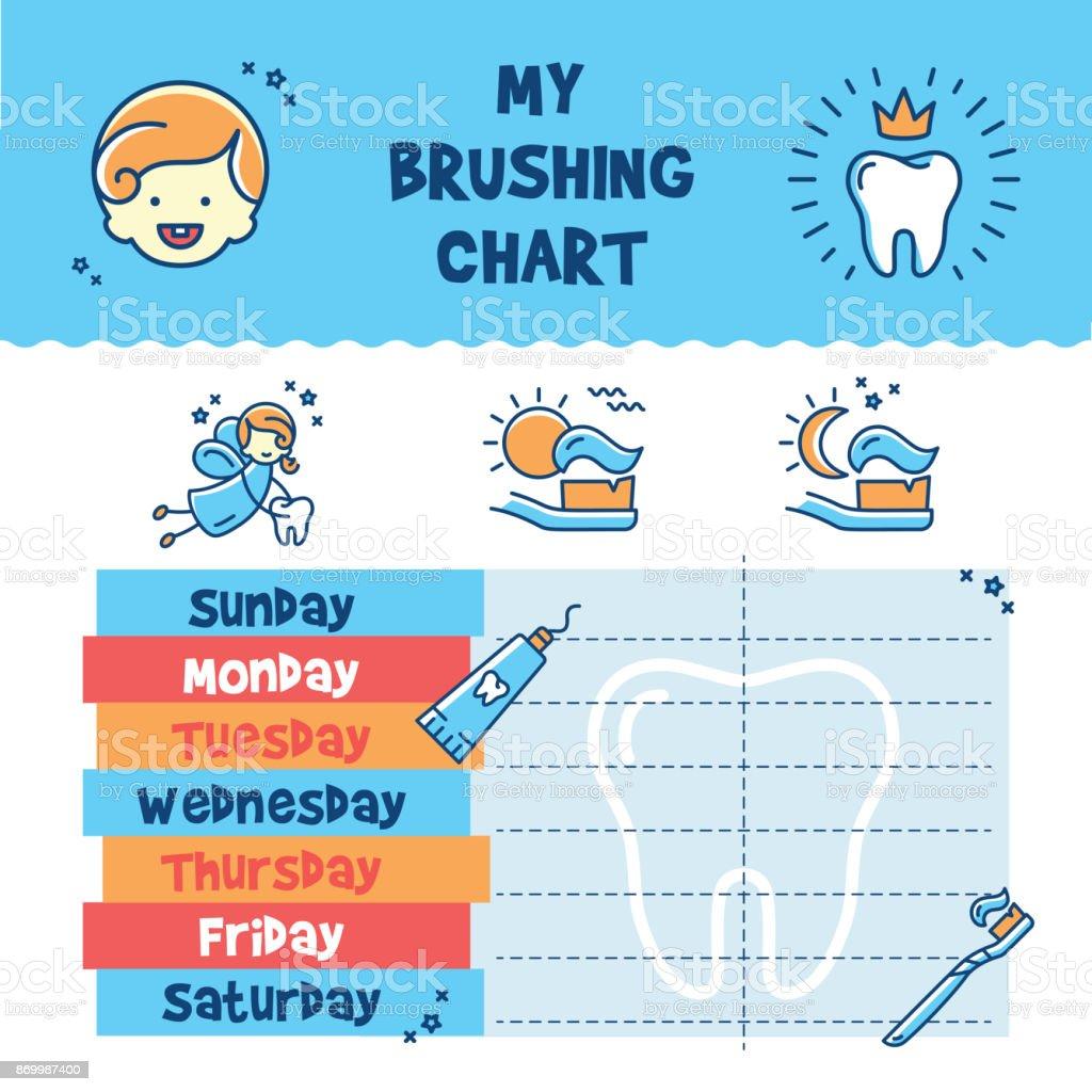 Teeth Brushing Incentive Chart, child dental poster vector art illustration