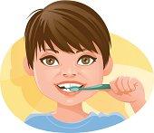 Child brushing its teeth.