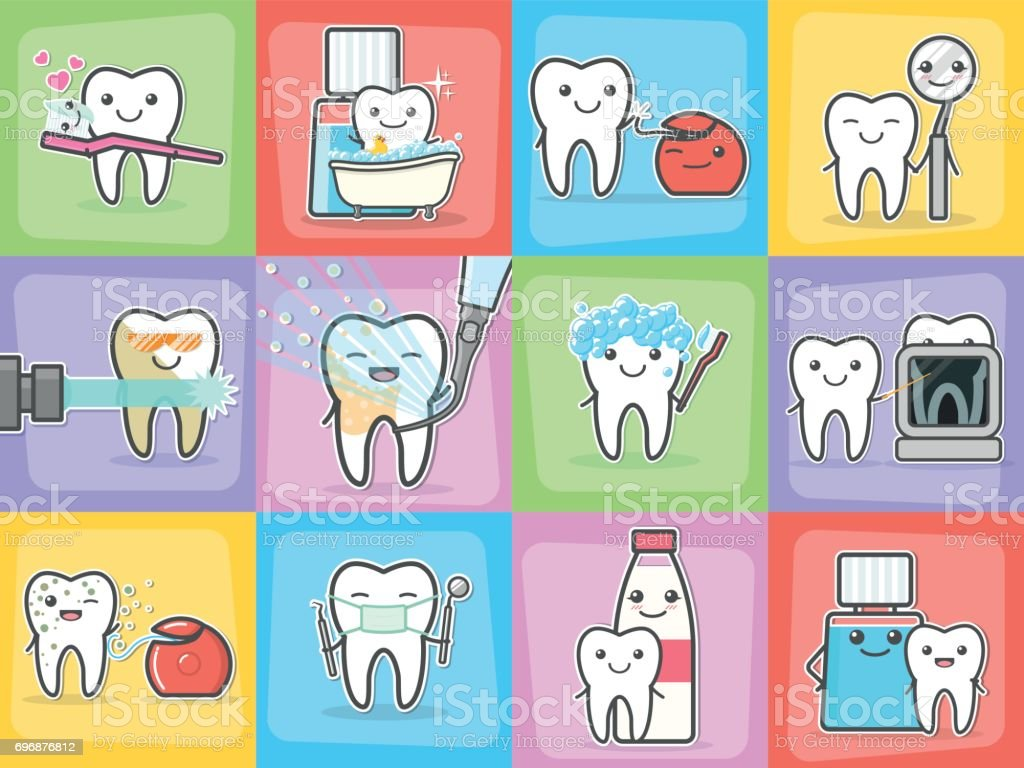 Teeth care treatment and hygiene concepts set. vector art illustration
