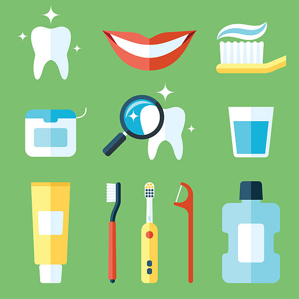 putzen care - zähne putzen stock-grafiken, -clipart, -cartoons und -symbole