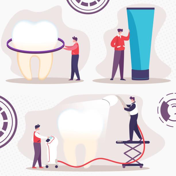 bildbanksillustrationer, clip art samt tecknat material och ikoner med tandrengöring och whitening platt vektorkoncept - tandblekning