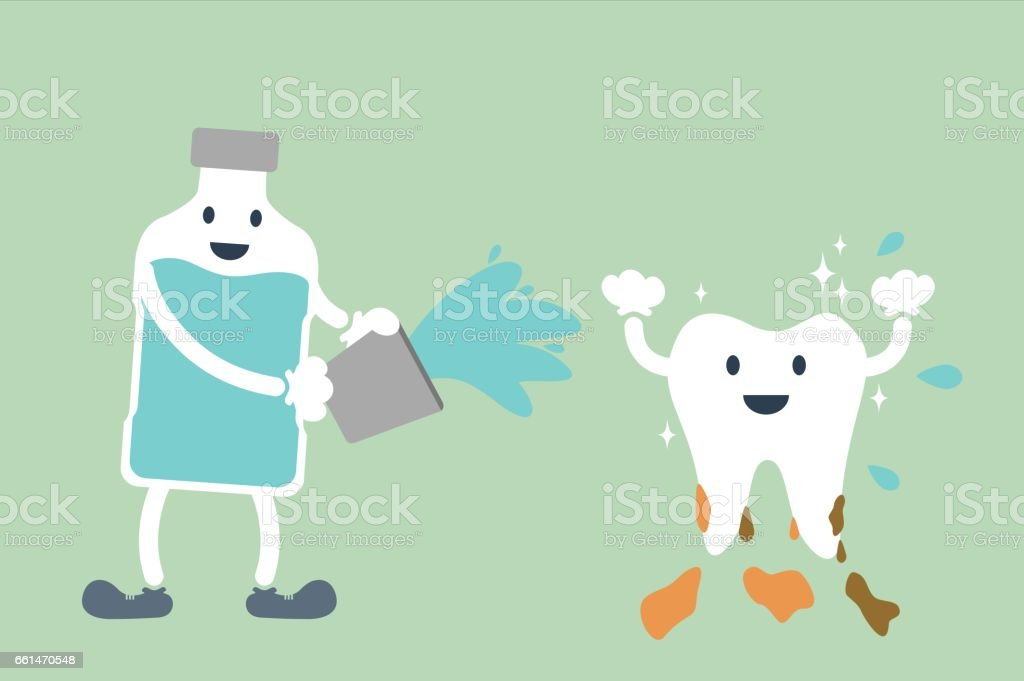 teeth cleaning by mouthwash vector art illustration