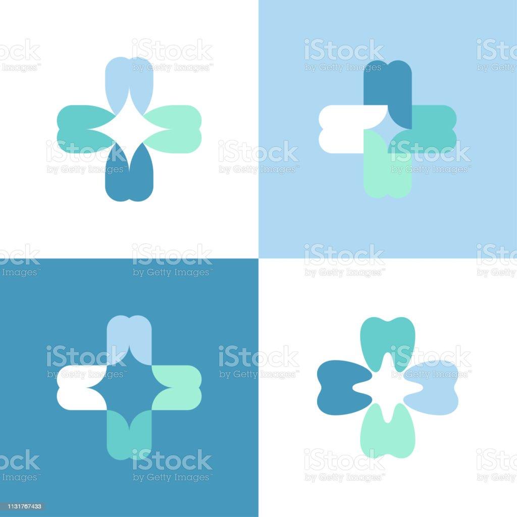 Los dientes se cruzan. Plantilla de marca de logotipo vectorial o icono para clínica dental - ilustración de arte vectorial