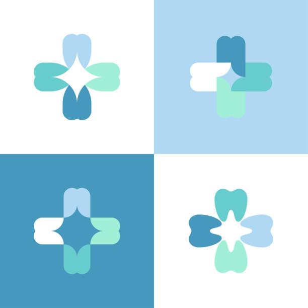 teeth cross. vector logo mark template or icon for dental clinic - dentist logos stock illustrations