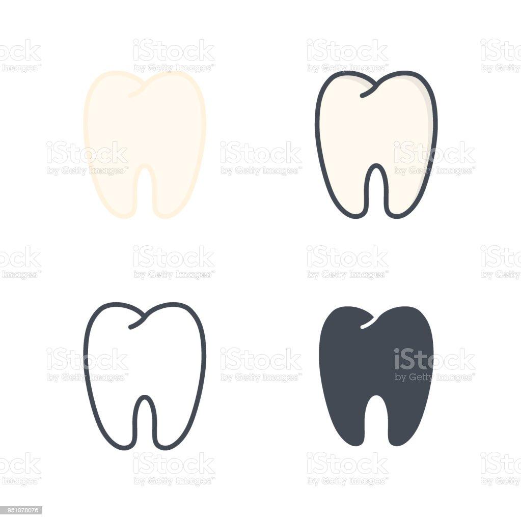 Zähne Zahnmedizin Vektor Flache Linie Silhouette Farbiges Symbol ...