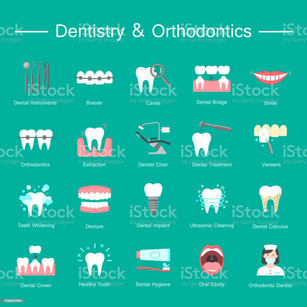 Teeth, dentistry medical flat icons. vector art illustration