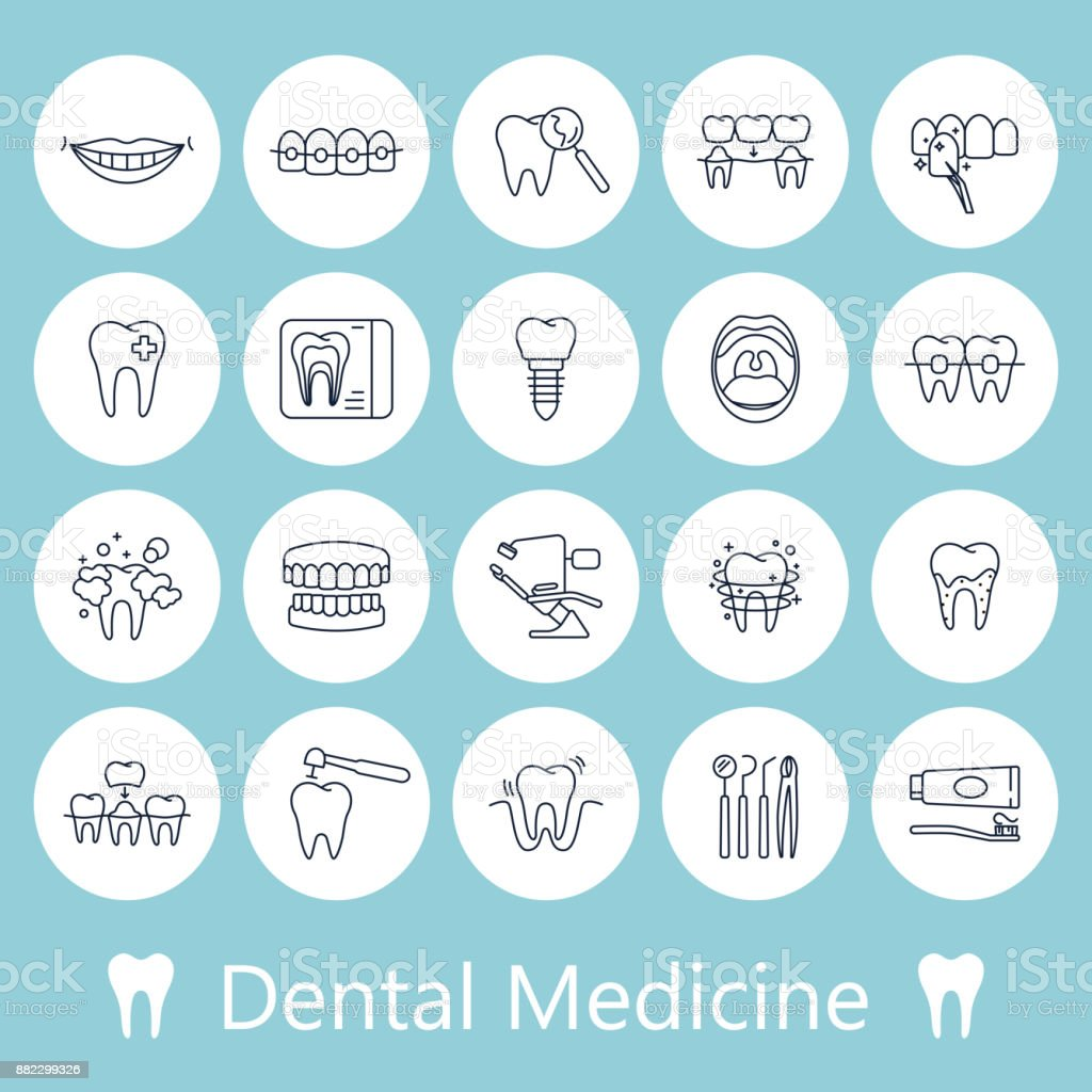 Teeth, dentistry medical line icons. vector art illustration