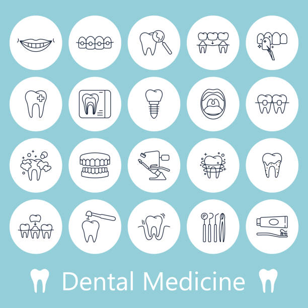 teeth, dentistry medical line icons. - dentist stock illustrations, clip art, cartoons, & icons
