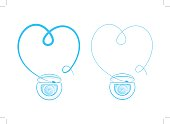 Teeth floss string vector illustration. Thread for tooth cleaning (hygiene, flossing) graphic design. Cartoon heart shape dental floss creative concept.