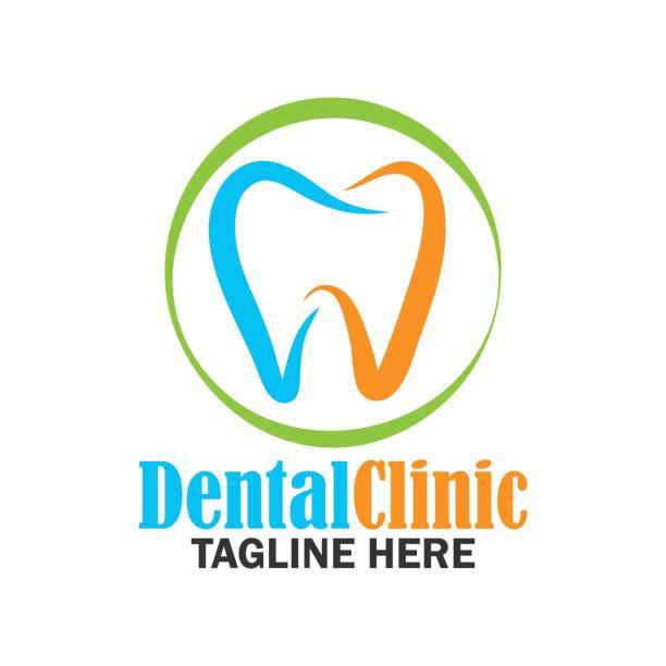 zähne für die zahnmedizin / zahnarzt / dental klinik-symbol. flache vektor-illustration - zahnarzt logos stock-grafiken, -clipart, -cartoons und -symbole
