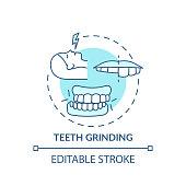 istock Teeth grinding turquoise concept icon 1279286859
