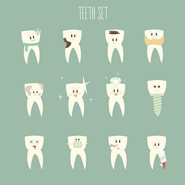 歯のアイコンセットベクトルイラスト。フラットなデザイン、 ベクターアートイラスト