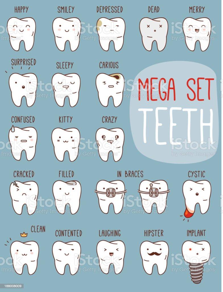 Teeth mega set. vector art illustration