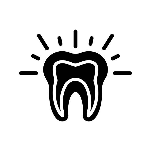stockillustraties, clipart, cartoons en iconen met tanden pijn zwart pictogram, tand probleem - streptococcus mutans