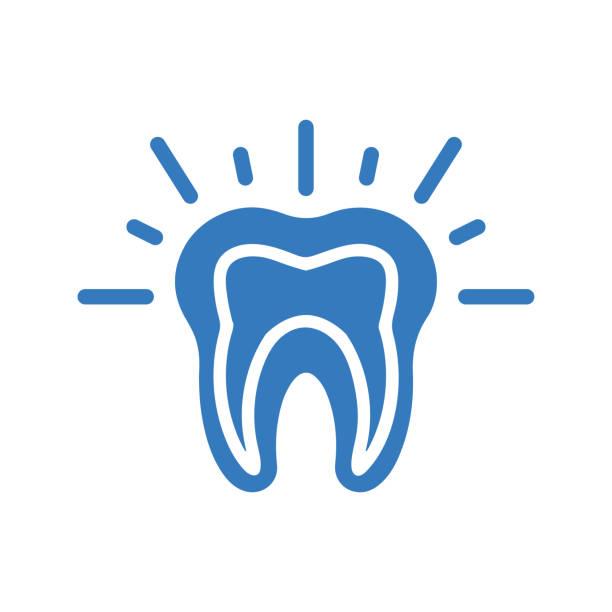 stockillustraties, clipart, cartoons en iconen met tanden pijn blauw pictogram, tandprobleem - streptococcus mutans