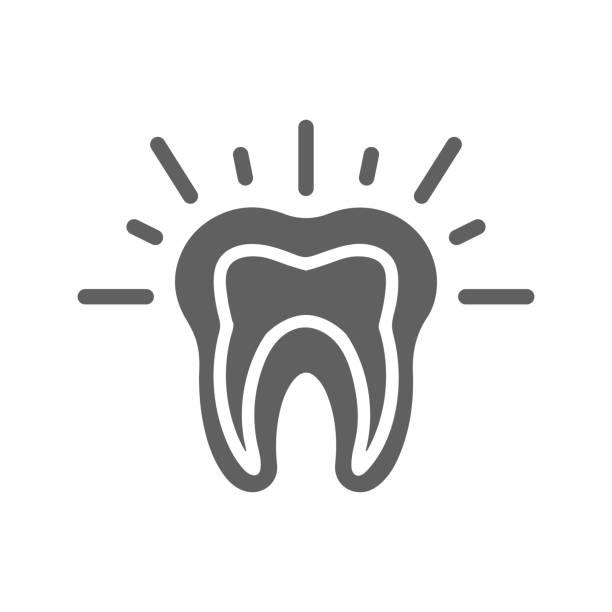 stockillustraties, clipart, cartoons en iconen met tanden pijn grijs pictogram, tand probleem - streptococcus mutans