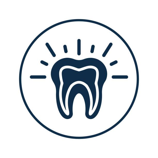 stockillustraties, clipart, cartoons en iconen met tanden pijn pictogram, tand probleem, diep blauw - streptococcus mutans