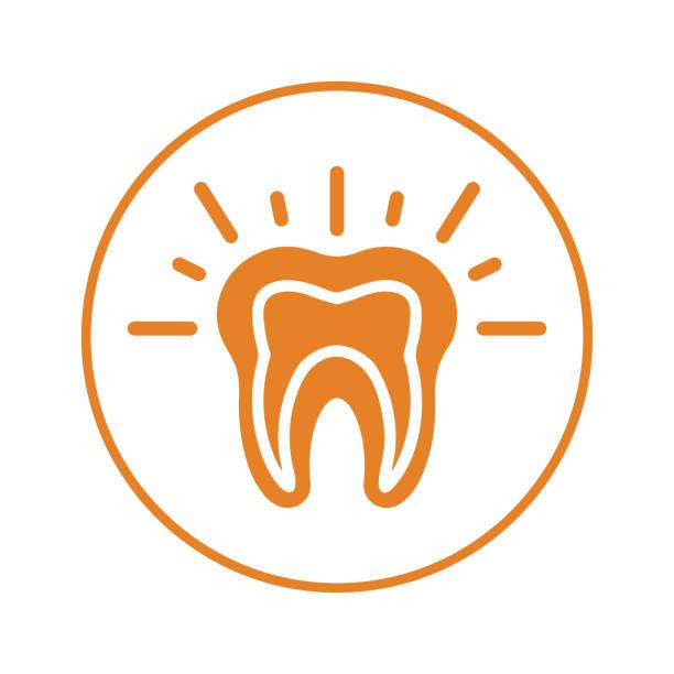 stockillustraties, clipart, cartoons en iconen met de pijnpictogram van tanden, tandprobleem, oranje versie - streptococcus mutans