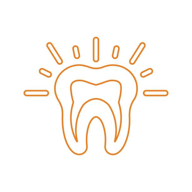stockillustraties, clipart, cartoons en iconen met tanden pijn pictogram, tand probleem, overzicht - streptococcus mutans