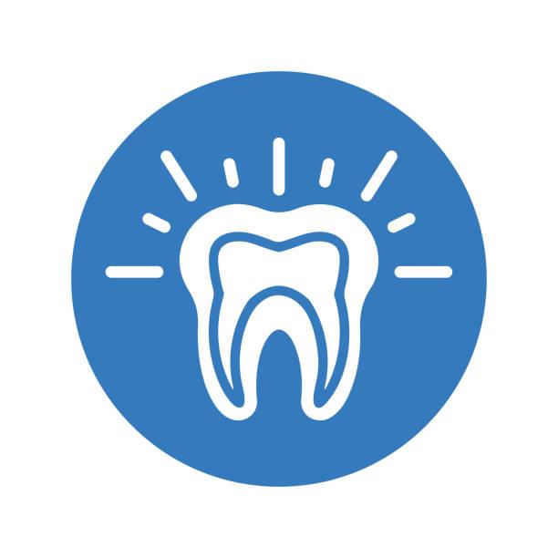 stockillustraties, clipart, cartoons en iconen met de pijnpictogram van tanden, tandprobleem, ronde blauwe kleur - streptococcus mutans