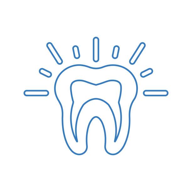 stockillustraties, clipart, cartoons en iconen met tanden pijn overzicht pictogram, tand probleem - streptococcus mutans