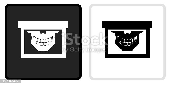 Teeth Scan Icon on  Black Button with White Rollover. This vector icon has two  variations. The first one on the left is dark gray with a black border and the second button on the right is white with a light gray border. The buttons are identical in size and will work perfectly as a roll-over combination.