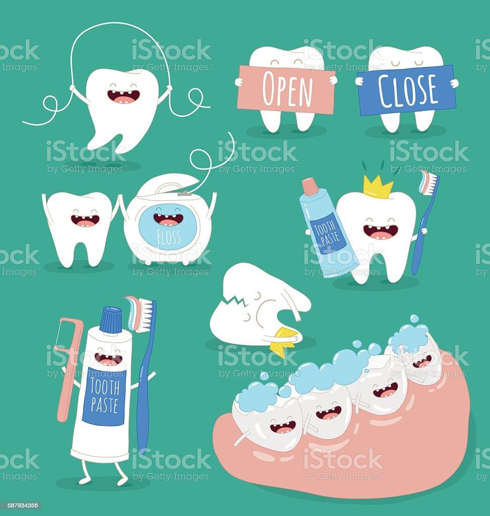 teeth set vector art illustration