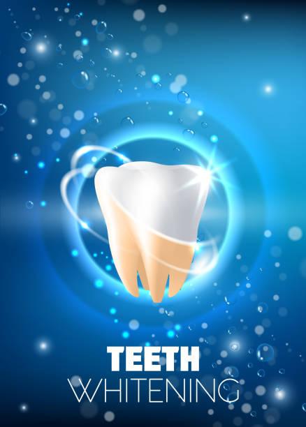 bildbanksillustrationer, clip art samt tecknat material och ikoner med tandblekning ad vektor realistisk illustration - tandblekning