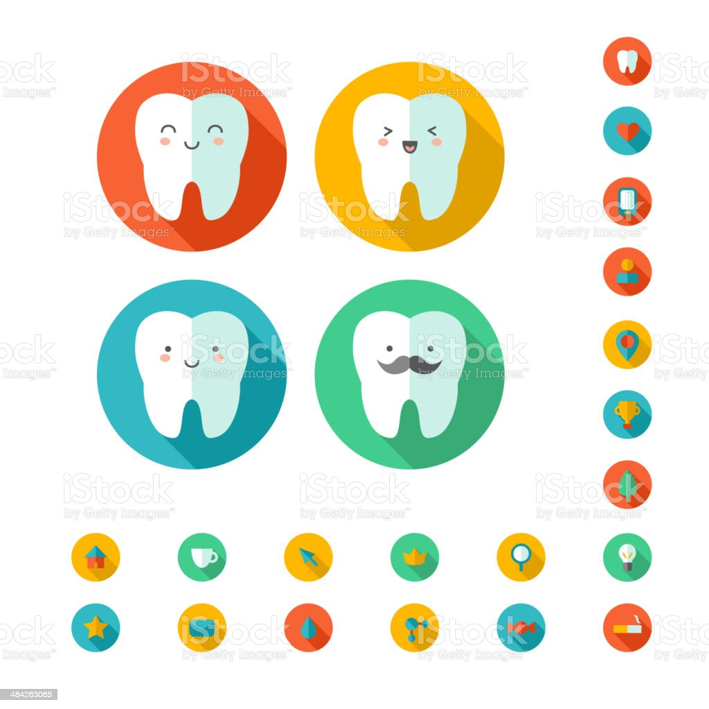 Teeth with dental icons. vector art illustration