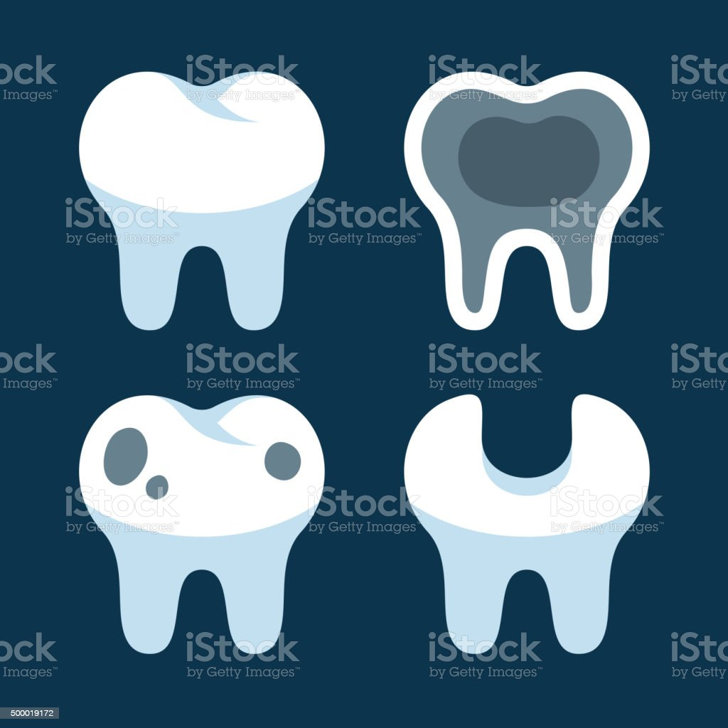 Teeth with Different Dental Problems Icons Set. Vector vector art illustration