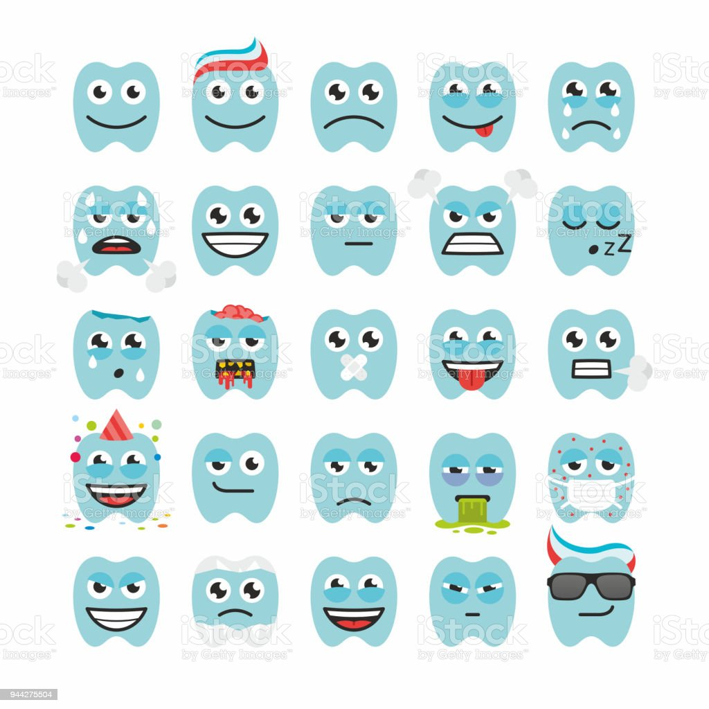 Teeth with Different Emotions vector art illustration