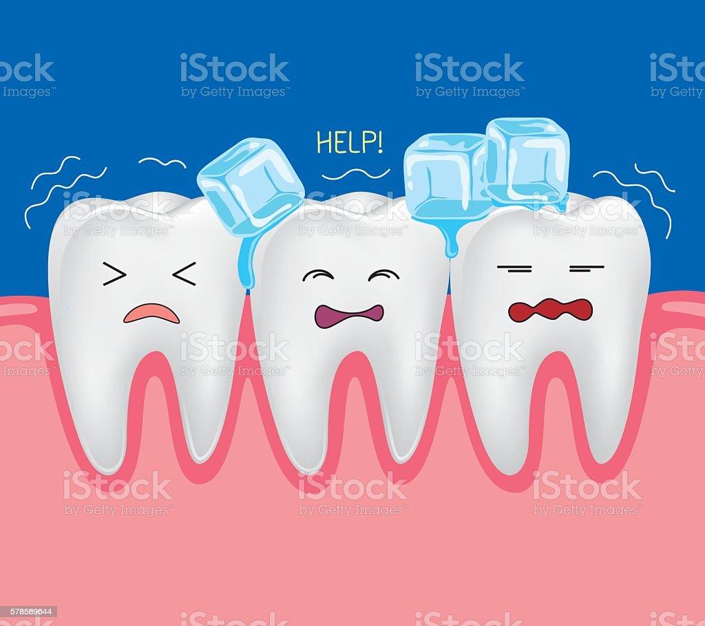 Teeth with ice vector art illustration
