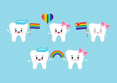 Teeth with rainbow flag and balloon in hands.