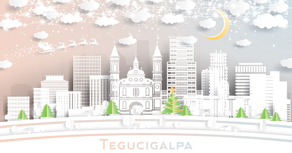 Tegucigalpa Honduras City Skyline in Paper Cut Style with Snowflakes, Moon and Neon Garland.
