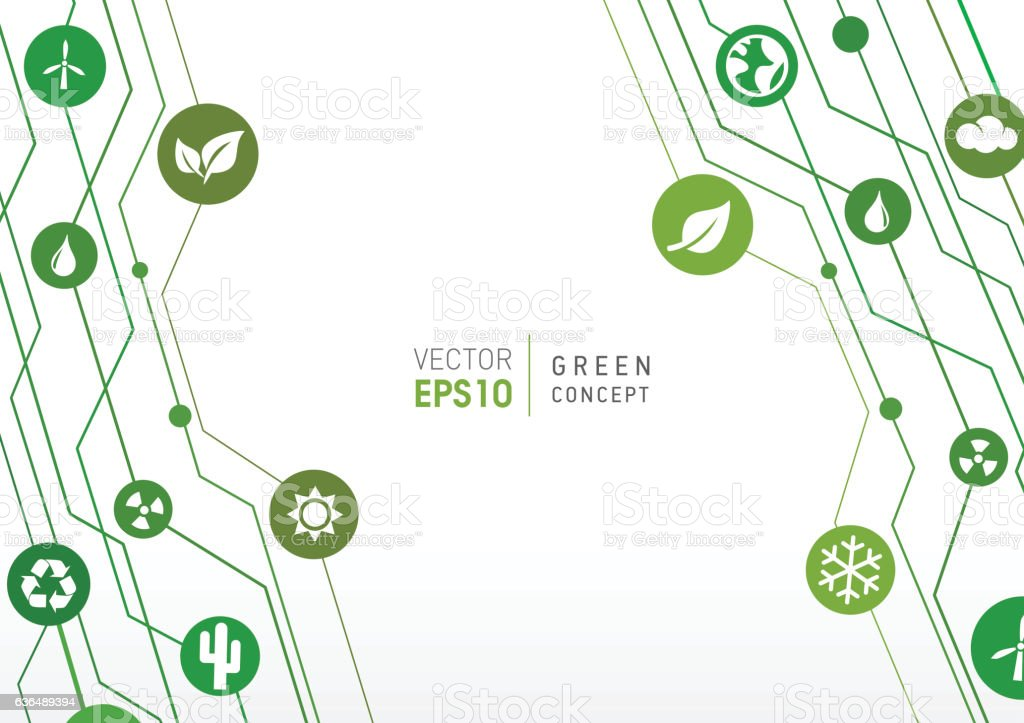 Tehnologic Up Lines - Green Concept vector art illustration