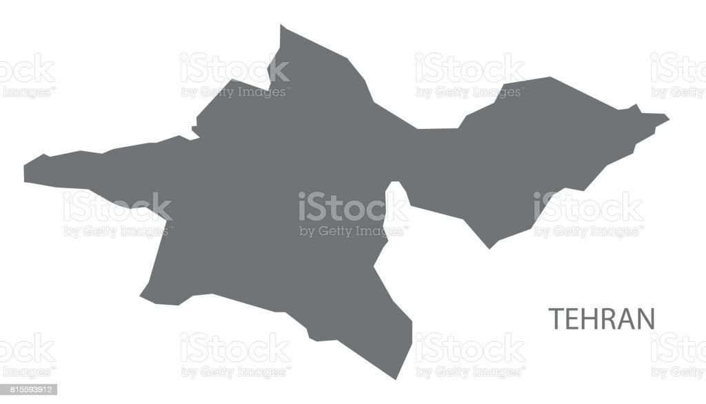 Tehran Iran region map grey illustration silhouette