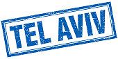 Tel Aviv blue square grunge stamp on white