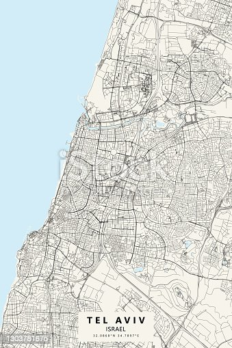 Poster Style Topographic / Road map of Tel Aviv-Yafo, Israel. Original map data is open data via © OpenStreetMap contributors. All maps are layered and easy to edit. Roads are editable stroke.