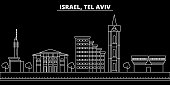 Tel aviv silhouette skyline. Israel - Tel aviv vector city, israeli linear architecture, buildings. Tel aviv travel illustration, outline landmarks. Israel flat icon, israeli line banner