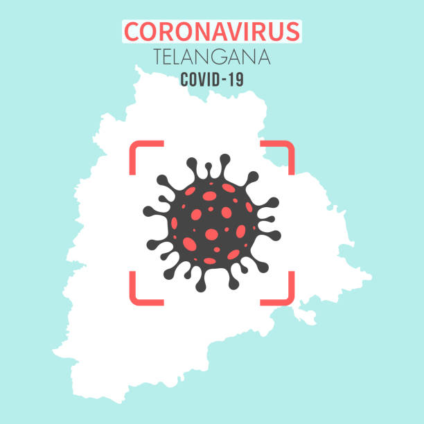 Telangana map with a coronavirus cell (COVID-19) in red viewfinder vector art illustration