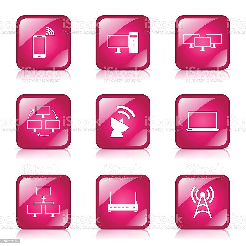 Telecom Communication Square Vector Pink Icon Design Set 2 Stock