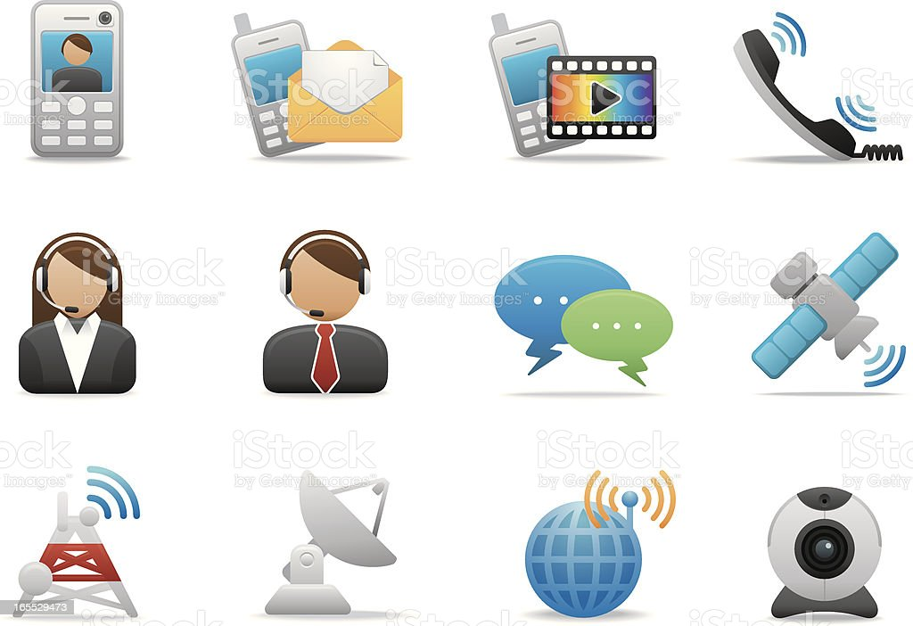 Telecom Networking Icons Premium Matte Series Stock Vector Art