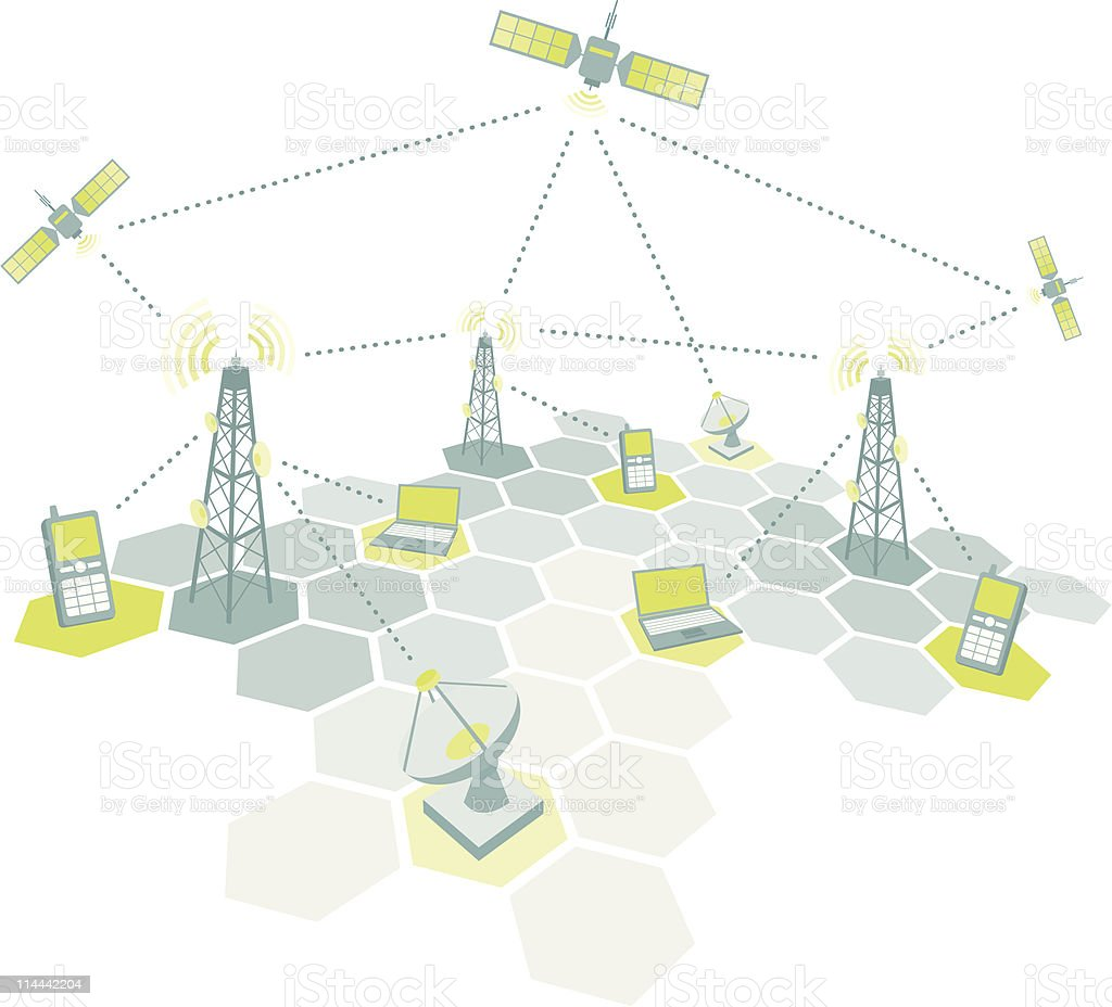 Telecom working diagram vector art illustration