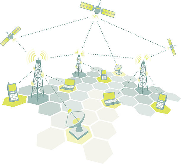 Telecom working diagram  repeater tower stock illustrations