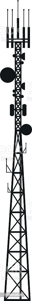 Telecommunication antenna mast or mobile tower vector art illustration
