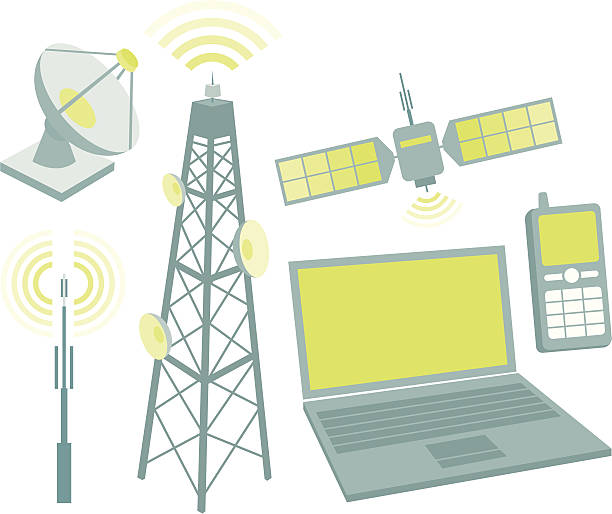 Telecommunication equipment icon set Antennas, mobile phone, satellite, computer, dish and waves. repeater tower stock illustrations