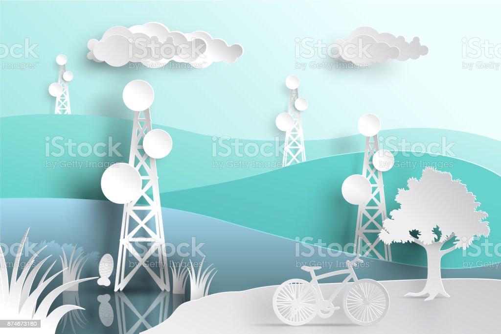 telecommunication mast television antennas in paper cut vector art illustration