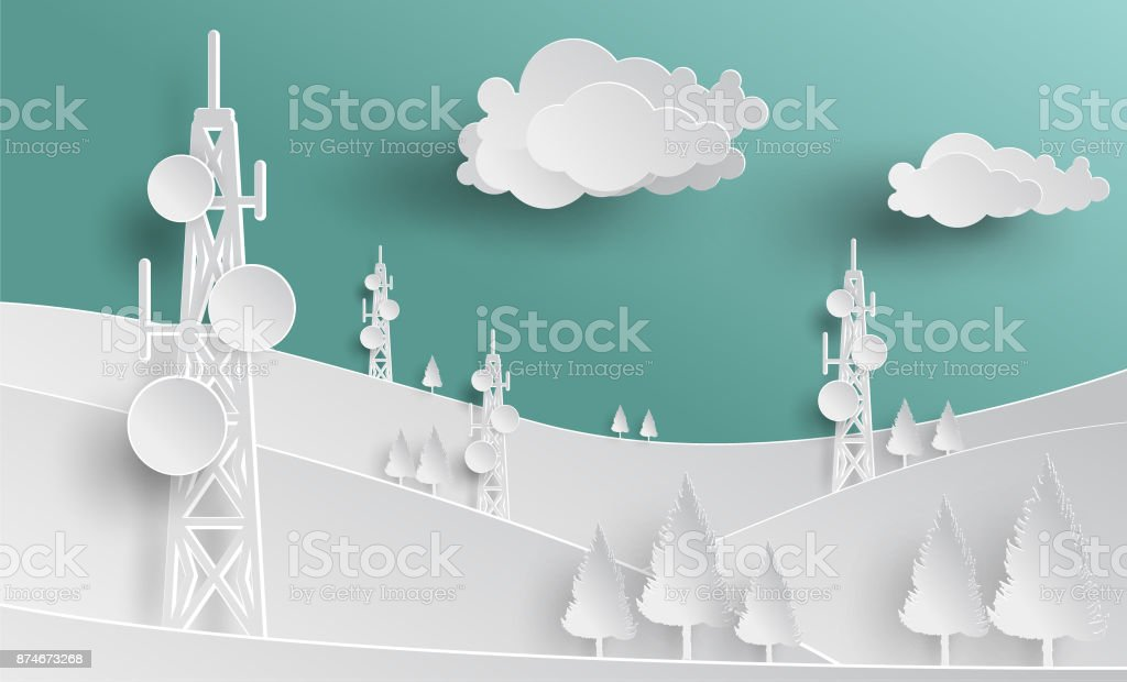 telecommunication mast television antennas in paper cut vector art illustration