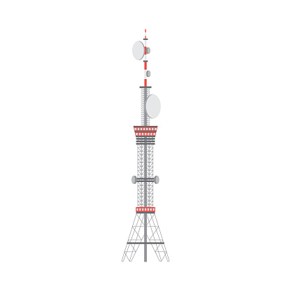 Telecommunication tower construction, flat vector illustration isolated.